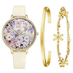 Kaifanxi Quartz Montre Femme pour Fleurs délicates Composition à Cadran avec Bracelet Cadeau Verre en Cristal de Saphir pour Femme (JDNKF6001L05-2) (Exclusive Watch Store, neuf)