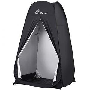 WolfWise Tente de Douche Toilette Pop Up Grande Taille Cabinet de Changement Tente Instantanée Portable Camping Plage - Noir (Viowind, neuf)