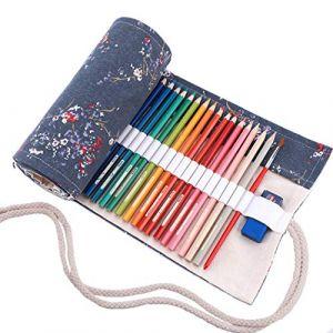 Amoyie - Trousse Feutre de Toile Sac à Crayon Rouleaux pour 72 Crayons de Couleur - Prune Gris (Les Crayons ne sont Pas fournis) (amoyie, neuf)