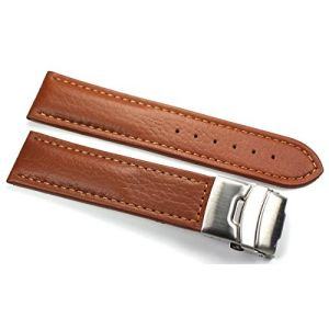 20mm Bracelet en cuir Genuine avec boucle déployante en acier inoxydable 20mm Marron (Sammlerparadies, neuf)