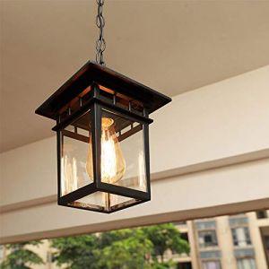 Mengjay Rétro Plafonnier d'extérieur industriel verre,Extérieur Plafond Étanche Lumières,Luminaires extérieur E27 Suspension Extérieure pour Jardin Patio Pavillon (Mengjay, neuf)