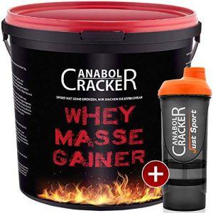 Anabol Cracker Whey Masse Gainer Protéine en poudre Bidon de 3000g + shaker de protéines Goûts fraise, toffi ou vanille (Anabol Cracker, neuf)