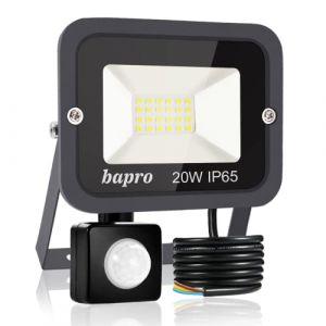 20W Projecteur LED détecteur de mouvement, Blanc Froid 6000K spot led exterieur avec detecteur IP65 lampe de sécurité idéal pour éclairage public, garage, couloir, jardin[Classe énergétique A++] (Bapro, neuf)