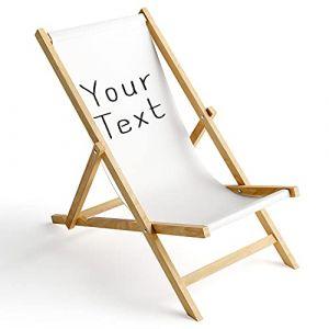 Ferocity Chaise Longue Pliable en Bois Fauteuil de Plage Pliant en hetre Classique Lit de Plage Votre Texte Blanc 1 [119] (ferocity-shop, neuf)