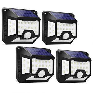 Lampe Solaire Extérieur, LE Éclairage Solaire Extérieur Détecteur de Mouvement [ 270° Éclairage à 4 Angles], Projecteur LED Lumière Étanche sans fil pour Jardin Garage -4 Pack (Lepro FR, neuf)