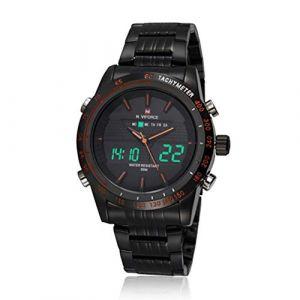 Montre Machines Les hommes voient LED horloge poignet étanche à double Voir avec ruban en acier inoxydable (noir rouge) (AiSiWeiDianZi, neuf)