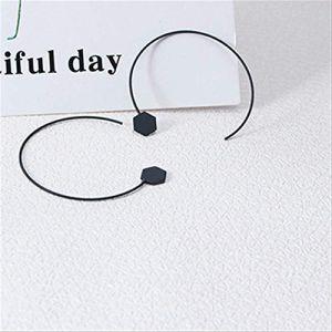 Ensemble de boucles d'oreilles pour femmes Créoles Simple à la main en fil de cuivre Fleurs noires Boucles d'oreilles FemmesStyle 2 (Graceguoer, neuf)