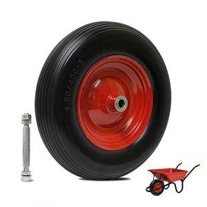 YAOBLUESEA Roue de brouette pneus anti-crevaison Pneu CaouTChouc Roue Diable PU de rechange 390 x 100 mm 4.00-8 Roue PU 20 mm max 200 kg (yaobluesea, neuf)