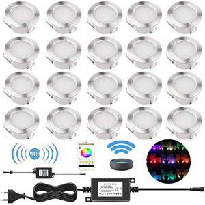 20 Spots LED Extérieur Encastrable avec WIFI Contrôleur Mini Lumière pour Terrasse Bois Escalier Piscine 0.2-0.5W DC12V Lampe étanche Kit Spot de Jardin, RGB[Classe énergétique A] IP67 (Shangchen, neuf)