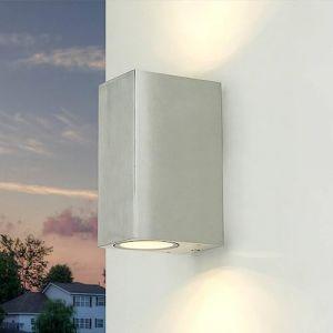 Lampe murale moderne argent incl. 2x32W GU10 LED 230V Lampe murale en aluminium coulé sous pression pour jardin/terrasse Jardin allée terrasse lampes éclairage extérieur (Licht-Erlebnisse, neuf)