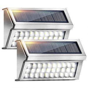 Lumière Solaire Extérieur 2 Pack 30 LED Onshida, Lampe Solaire Étanche Éclairage Solaire en Acier Inoxydable Lampe de Sécurité sans Fil Lampe Mural pour Jardin Cour Terrasse Escalier Parking Patio (YFEU, neuf)