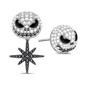 Gnoce Boucles d'oreilles Crâne en Argent Sterling S925 avec Zircones Cadeaux Bijoux pour Femmes et Homme (Gnoce, neuf)