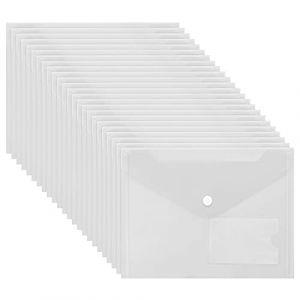 Lot de 24 Pochette Porte Document A5 en Plastique Transparent, Pochette Document, Protège-Document Plastique, Chemise Plastique avec Fenêtre d'Identification pour Certificats, Factures ou Invitations (Tinyyo Europe, neuf)