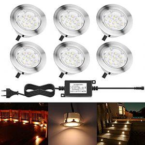 6 Spot Encastrable LED pour Terrasse,Mini Spot Encastré en DC12V IP67 Etanche Ø60mm Acier Inoxydable Exterieur luminaire,Eclairage pour Jardin,Couloir (Blanc chaud) (CHENXU, neuf)