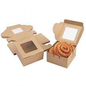 Boite Gateau (Lot de 50) - Boite Papier Kraft Marron avec Fenêtre Transparente 10,16 x 10,16 x 5,7 cm - Boite Pâtisserie pour Donut, Mini Gâteau, Pâtisserie, Dessert et Tarte - Emballage à Emporter (Tinyyo Europe, neuf)