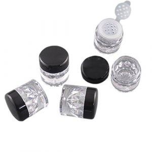 5pcs Luxe vide Plastique Mini Maquillage Poudre libre Boîte Cosmétique Eyeshow Poudre bouteilles à nourriture Correcteur Poudre Tamis Bocal avec couvercle à vis (Rimandy, neuf)