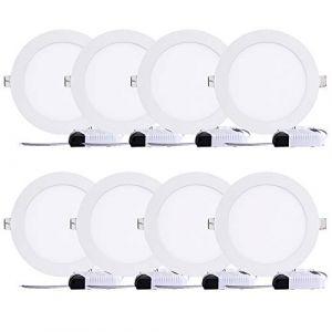 8PCS LED Plafond Encastré 18W blanc froid Rond Panneau Plat Down Light Ultra mince Lampe pour le bureau à la maison de salon (plumstorehouse, neuf)