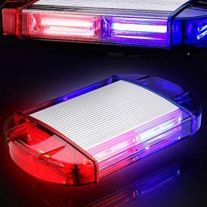 126 Gyrophare Rouge&Bleu Orange LED stroboscopique clignotantes d'avertissement de danger d'urgence Clignotant de voiture Construction camion LED sur toit lampe stroboscopique avec base magnétique (Antom  EU, neuf)