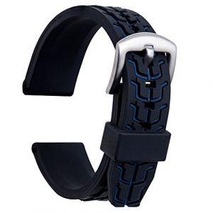 Ullchro Bracelet Montre Remplacer Silicone Bracelet Montre TextuRouge - 20, 22, 24mm Caoutchouc Montre Bracelet avec Acier Inoxydable Boucle Argent (22mm, Bleu) (Ullchro-EU, neuf)