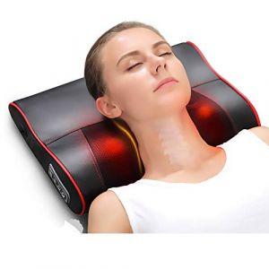 Multi-fonction oreiller de massage, masseur cervical masseur électrique infrarouge oreiller Shiatsu coussin cou retour corps soins de santé maison de voiture (hahanihao, neuf)