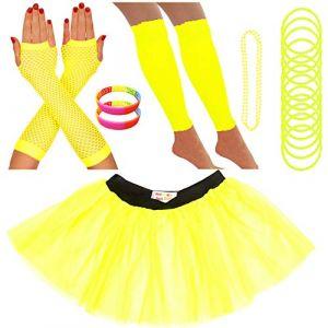 Redstar Fancy Dress - Tutu/guêtres/Mitaines résille/Collier de Perles/Bracelets en Caoutchouc/Bracelets Fluo - Jaune - 36-40 (Redstar Online, neuf)
