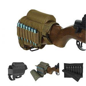 Fusil Buttstock, Chasse Tactique Tactique Repose-Jouets Poche Munitions Poche avec 7 Détenteurs de Coquilles (Kaki) (WOOBOO, neuf)