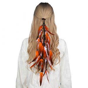 Bandeau en plumes coiffe hippie indienne - coiffes en plumes à gland Boho pour femmes Costume Festival chapeaux (Orange + Blanc) (anjerry, neuf)