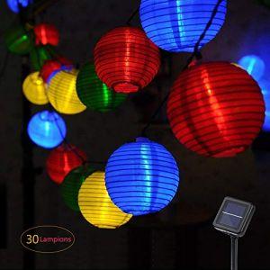 Guirlande Lumineuse,Lanterne Guirlande Lumineuse Solaire, 30 Lanterne LED, 6M Décoration Intérieur et Extérieur pour Jardins, Terrasse, Patio, Café, Lampion Parti(multicolore) (shijijingwei, neuf)