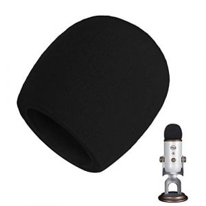 AOBETAK Mousse Micro Anti Bruit,Bonnette Filtre Micro Anti Vent Pop pour Microphone à Condensateur Blue Yeti,Yeti Pro,Noir (josid store, neuf)