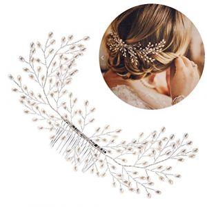 Frcolor Peigne de cheveux de mariée, perle élégante mariage peigne cheveux faits à la main accessoires de cheveux de mariage (Vestle, neuf)