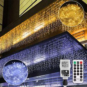 Guirlande Lumineuse, Rideau Lumière,B-right 12M LEDs chaîne légère à l'extérieur et à l'intérieur,rideau à chaîne légère blanc chaud et blanc froid avec télécommande,pour Fête,Chambre,Noël,Mariage (For Light Life, neuf)