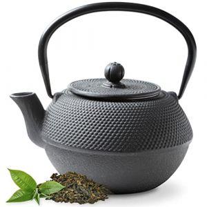 Tealøv THÉIÈRE Fonte 1,1 l - Théière en Fonte avec infuseur en Acier Inoxydable - Entièrement émaillée de l'intérieur - Prépare Une Tasse de thé Parfaite - Design Japonais à Picots Arare (Noir) (Cook & Dine, neuf)