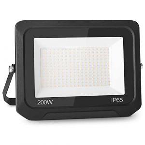 200W 20000LM Projecteur LED Lumières Extérieures 3500K Super Lumineux Blanc Chaud Lampe Projecteur Spot LED Puissant Projecteur LED Extérieur IP65 Etanche Câble 0.75M [Classe énergétique A++] (NATUR, neuf)