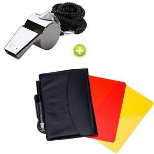 Giveet Sifflet en métal avec Sports arbitre Lot de cartes, carte Rouge/jaune et acier inoxydable Métal Coach Sifflet pour football (JGZHDIRECT-UK, neuf)