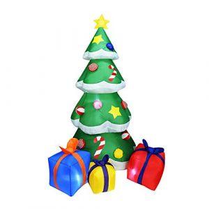 Arbre de Noël gonflable - Cadeau de Noël - boules de Noël Grandes Arbres De Noël Gonflables 2.1M Décoration pour L'intérieur, À La Maison, À L'extérieur, Jardin, Pelouse, Fête, Vacances Serria (Serria, neuf)