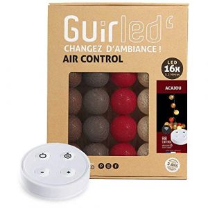 Guirlande lumineuse boules coton LED USB - Télécommande sans fil - Chargeur double USB 2A inclus - 4 intensités - 16 boules - Acajou (Lighting Arena, neuf)