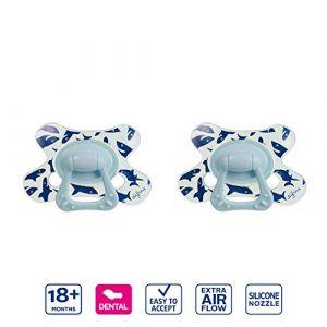 Difrax Dental Sucette 18-36 Mois, Lot de 2 Sucettes avec Tétine Silicone, Facilement À Accepter, un Apport Optimal d'Air, Confortable - Bleu Requins (Difrax, neuf)