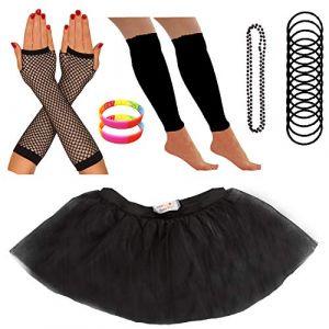 Redstar Fancy Dress - Tutu/guêtres/Mitaines résille/Collier de Perles/Bracelets en Caoutchouc/Bracelets Fluo - Noir - 42-50 (Redstar Online, neuf)
