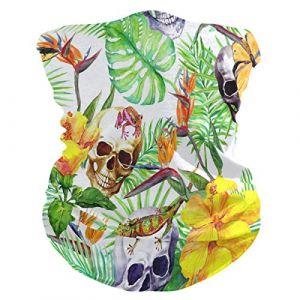 QMIN Bandeau Tropical Palmier Feuilles Tête de Mort Grenouille Bandana Visage Soleil Protection Masque Cagoule Magique Cagoule pour Femmes Hommes Garçons Filles (QMIN, neuf)