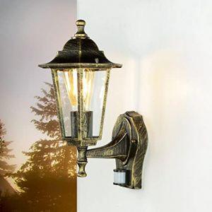 Lampe d'extérieur ancienne en or avec détecteur de mouvement Lampe murale à détecteur de forme de lanterne PARIS applique applique porte de balcon d'extérieur (Licht-Erlebnisse, neuf)