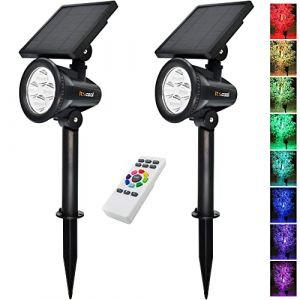 Spot Solaires, Itscool Lampe Solaire Extérieure 9 Couleurs avec Télécommande Kit pour le Jardin (Lot de 2 pcs) (Itscool Solar, neuf)