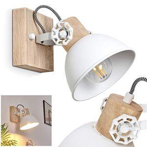 Applique Orny en bois et métal blanc, spot mural orientable, luminaire rétro, style industriel, pour ampoules E14, max. 60 Watt, compatible ampoules LED (hofstein, neuf)