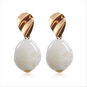 Cadeaux Boucles d'oreilles Boucles d'oreilles pour femmesBoucles d'oreilles Acrylique Géométrique Rouge Dangle Boucle d'oreille Mariage BrincoBlanc 6 (Graceguoer, neuf)