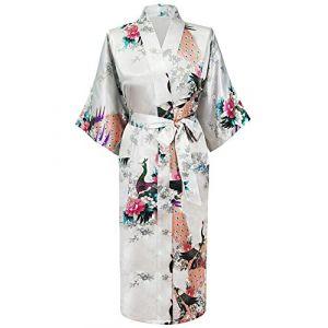HonourSport?Kimono Japonais en Satin Sexy Robe de Chambre Peignoir?Femme ?Blanc?XXXL? (westkun, neuf)