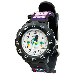 Montre Fille Garçon Enfant Pédagogique Digital Etanche Solide Motif Cool Bracelet PVC Souple Mignonne Avec Coffret Cadeau Anniversaire Accessoir Sport 3-10Ans Noir (BEICHENGEU, neuf)
