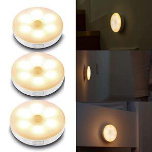 3Pcs Lampe Détecteur de Mouvement,Cadrim Lampe de Placard/Armoire,Veilleuse Led,Lampe à Led Sans Fil,Rechargeable Lampes de Nuit pour Vitrines,Cuisine,Chambre,Coiffeuse,Couloir,Escalier (Gizmo FR, neuf)