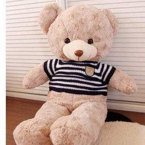 Rose Teddy Bear Holds A Bear Doll, Plusteddy Teddy Bear Doll, Rag Doll, Birthday Present Ours Brun Clair Bleu 80 Cm (lizhaowei531045832, neuf)