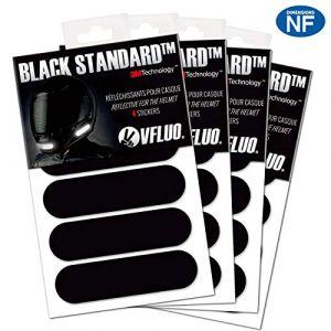 VFLUO Black Standard™, (Lot de 4) Kit 4 Bandes Stickers rétro réfléchissants pour Casque Moto, 3M Technology™, Noir (VFACTORY, neuf)