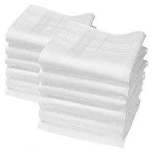 """Mouchoirs blancs """"Camille"""" - 35cm x 35cm - 12 unités ( Neuf Marketplace )"""