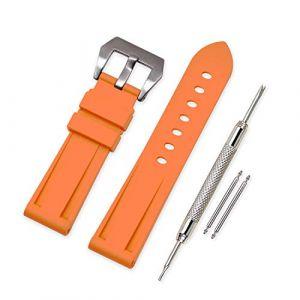 Vinband Bracelet Montre Camo Remplacer Silicone Bracelet Montre - 20mm, 22mm, 24mm, 26mm Caoutchouc Montre Bracelet avec Acier Inoxydable Boucle for Panerai (24mm, Orange) (vinband direct, neuf)